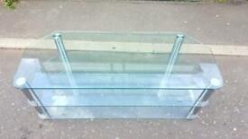 LARGE GLASS TV STAND WITH 3 SHELVES