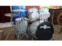 5 piece drum kit complete. cymbals and stool