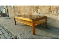Teak & smoked glass rectangular coffee table.