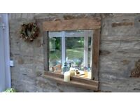 driftwood vintage bevelled glass mirror candle shelf