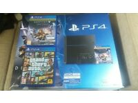 PS4 console and controller in box and 2 games