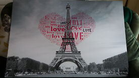 """large eiffel tower print with """"love"""" heart in the middle"""