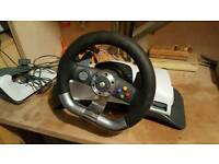 X box 360 steering wheel and pedals
