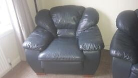 FREE 3 seater sofa & 2 chairs leather green/blue