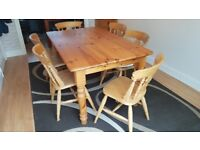 Solid Pine Table,5ft x 3ft, 6 chairs & tie-on cushions