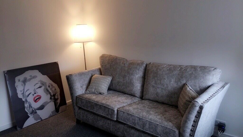 Scs Sofa Grey Crudhed Velvet 6 Months Old Comes With