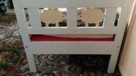 Ikea Children bed frame with slatted bed base KRITTER White & Mattress VYSSA