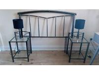 Headboard, bedside tables & lamps