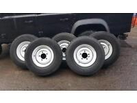 5 original landrover steel rims and tyres