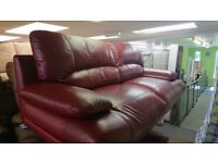 Red Leather Modern Sofa settee 2 seat and 3 seat suites