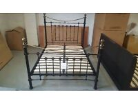Brand New Julian Bowen Victoria Double Bed Brass & Metal Satin Black Bed. Can Deliver Bargain £170