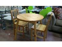 Round pine table and 2 chairs