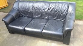 For sale 3 seater black leather sofa