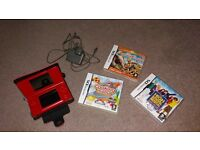 ds console red with 3 games