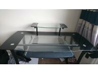 Large glass computer table