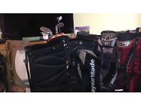 Selection of golf bags and golf trolleys