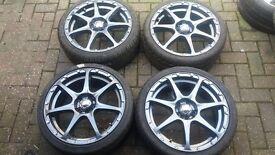 NEW 17 MULTISPOKE TMW ALLOY WHEELS 4 + 5 X 100 VW GOLF MK4 VAUXHALL SEAT IBIZA TOYOTA CELICA