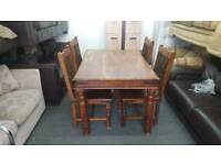 shesham pine table and 4 chairs
