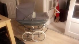 Dolls silver cross vintage pram