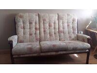 3 Seater Sofa, Chair & Footstool, and Corner Display Unit (Mahogany Wood)