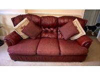 Three piece sofa and chairs.
