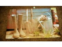 Wellington Boots and Garden Tools Picture Mat