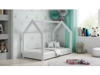 Children Kids Toddler Bed House White Pinewood Wooden Bed Frame 80x160 cm Single