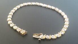 9ct Solid Gold 0.33ct Diamond Tennis Bracelet