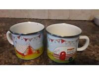 2 caravan or camping mugs