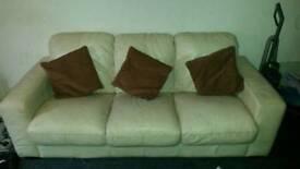3 seater leather cream sofa good condition