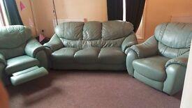 Sage green 3 piece sofa suite £40
