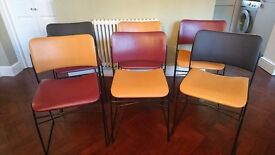 6 x Industrial art deco chairs steel dining chairs