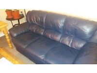 For sale leather sofa dark blue 3 seater