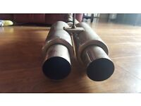 Sports Twin exhaust back box good quality sound had it on vauxhall honda mercedes will fit other cr