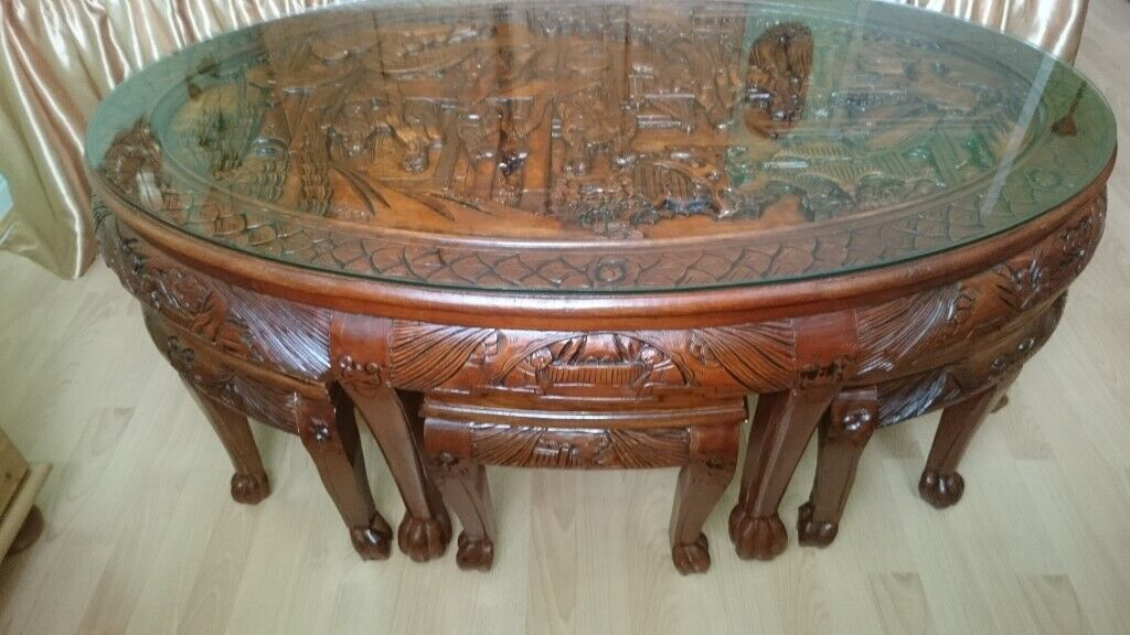 Oriental Chinese Carved Coffee Table With Stools House Clearance In Salford Manchester Gumtree