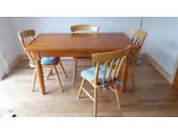 Solid Pine Table and Six Soild Pine Chairs.