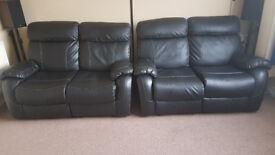 Valencia 2 Seater Recliner Leather Sofa (Black)
