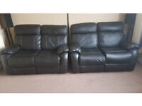 Valencia 2 Seater Recliner Leather Sofa (Black)