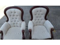 Pair of antique mahogany armchairs / chairs
