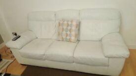 White leather Sofa + chair
