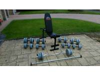 Weights 125kg and weight bench
