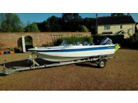 Fletcher Arrow Speedboat with 70hp Evinrude and galvanised trailer,refurbished.