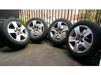 Audi A4 genuine 16 inch alloy wheels with tyres.