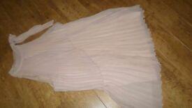 ASOS Nude colour pleated halterneck swing dress -size 14