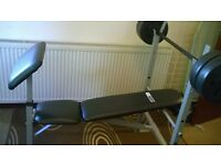Pro fitness weights bench and barbell with 30 kg weights (6 x 5kg)
