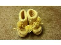 Home hand made sole 9 cm baby girl boy yellow wool blend winter booties socks slippers