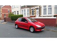 Peugeot 206 2003 reg 3 door hatchback in stunning red with long mot ,px welcome