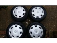 "Set of 4 Vauxhall Corsa C 14"" steel wheels with almost new 175/65 R14 82H tyres + genuine trim caps"