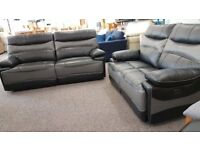 ScS Williams Black & Grey Leather 3 + 2 Seater Electric Recliner Sofas