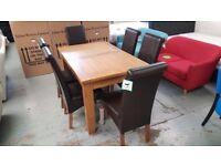 Julian Bowen Astoria Oak Dining Table & 6 Cuba Brown Faux Leather Chairs Free Delivery Derby Nottm